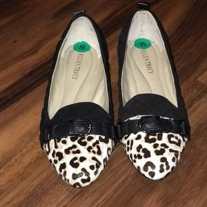 Ellen Tracy Quilted Flats with Animal Print Toe